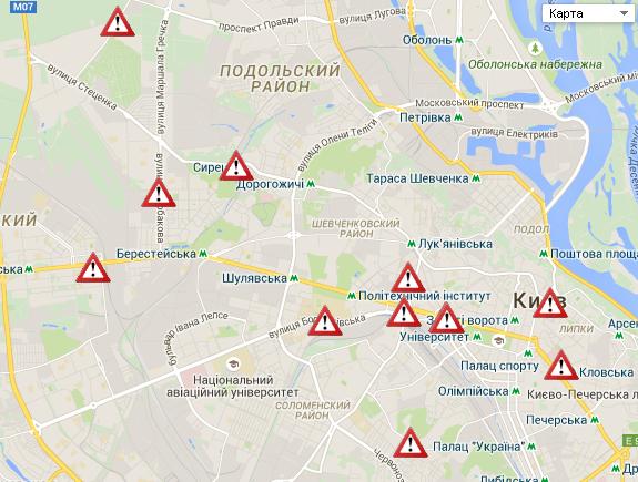 Карта дорожных событий Киева