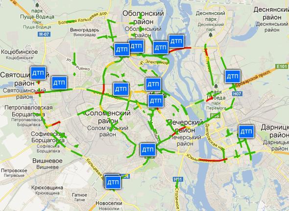 карта аварий Киева